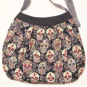 Handbags - Sugar skull crossbody purse handmade OOAK